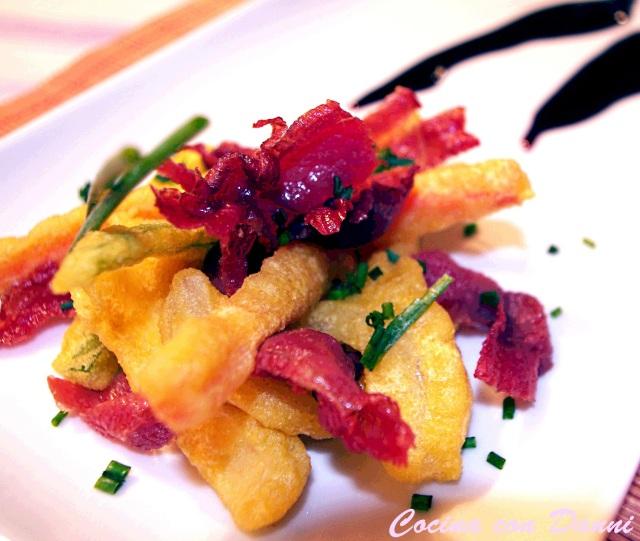 Crujiente de verduras con jamón ibérico